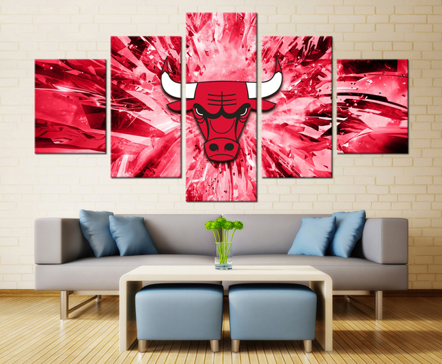 5 Pieces/Set Red Bulls Cool Wall Art Picture Modern Home Decoration ...
