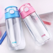 цена Oneisall Children Water Bottle BPA Free Cartoon Cute Straw Drinking Bottles Portable Outdoor School Water Cup 500ml for Kids Mug