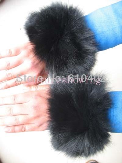 Women's Winter Real Fox Fur Sleeves Cuffs Handmade Black