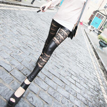 Gothic Black Lace Rose Floral Pattern Hollow Stitching Pants Rock Punk Stylish Slim PU Leather Pants For Women