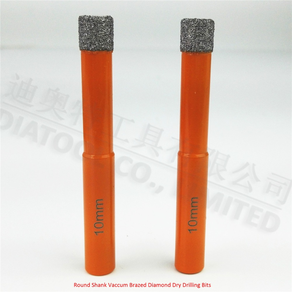 DIATOOL 2pcs 10mm drill bits Vaccum Brazed Diamond drilling bits, 10mm round Shank, Dry drilling for stone, masonry.... 2pcs dia 6mm vaccum brazed diamond drilling bits 10mm round shank dry drilling for stone masonry