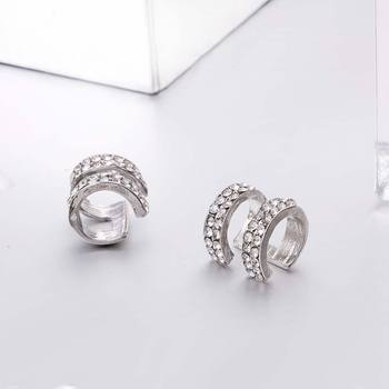 Crystal Earrings Small Round Ear Cuff Gold and Silver Plated 2 Rows Rhinestone Clip Earrings 4