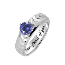 AILIN Custom Engraving Ring Baseball Birthstone Sports Outdoors Exercise Children School Graduation Gifts