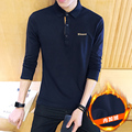 Man's Casual Cotton Thick Polo Shirt 2017 winter Pullover Solid Loose Plus Size Long Sleeve Shirt plus Velvet Warm men's clothes