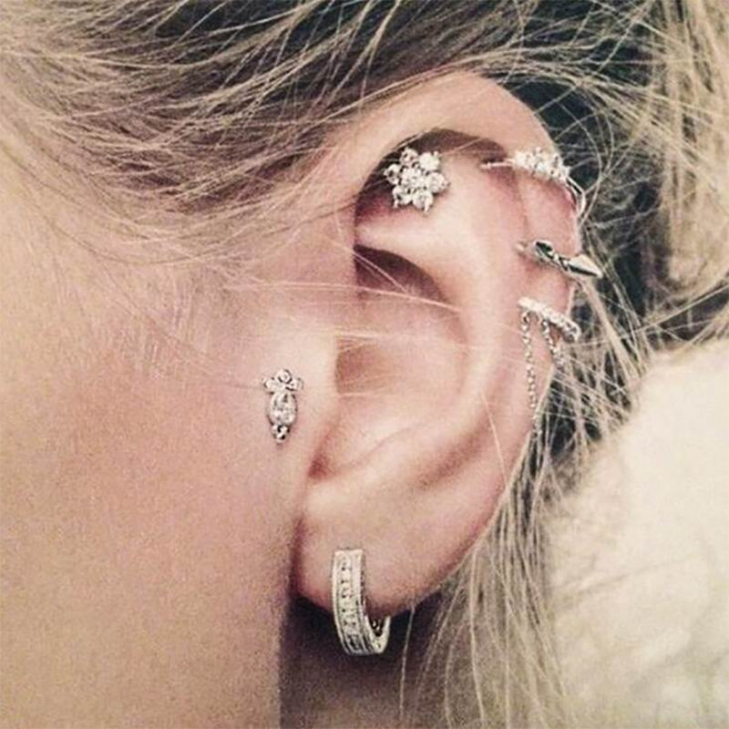 KobitAce 6pc/lot Vintage Punk Women Stud Earrings Set Cross Geometric Irregular Shape Earings Boucle D'oreille Brincos For Girls