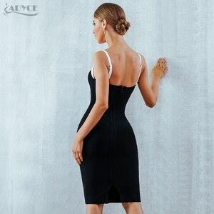 Image 5 - Adyce 2020 verão bodycon bandagem vestido feminino sexy sem alças preto & branco midi pista celebridade festa à noite clube vestido