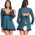 Прозрачный Кружевной Халат Кимоно Интимная Пижамы Халат Ночная сорочка Женщины Сексуальное Ночная Рубашка Установить зеленый белье