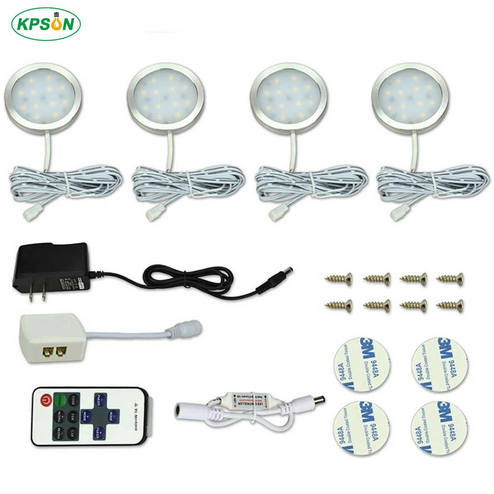 Under Cabinet Light LED Puck Lights DC12V Dimmable Kitchen Lighting With Wireless Remote Closet Lamps Showcase Lamp 4/6/8PCS