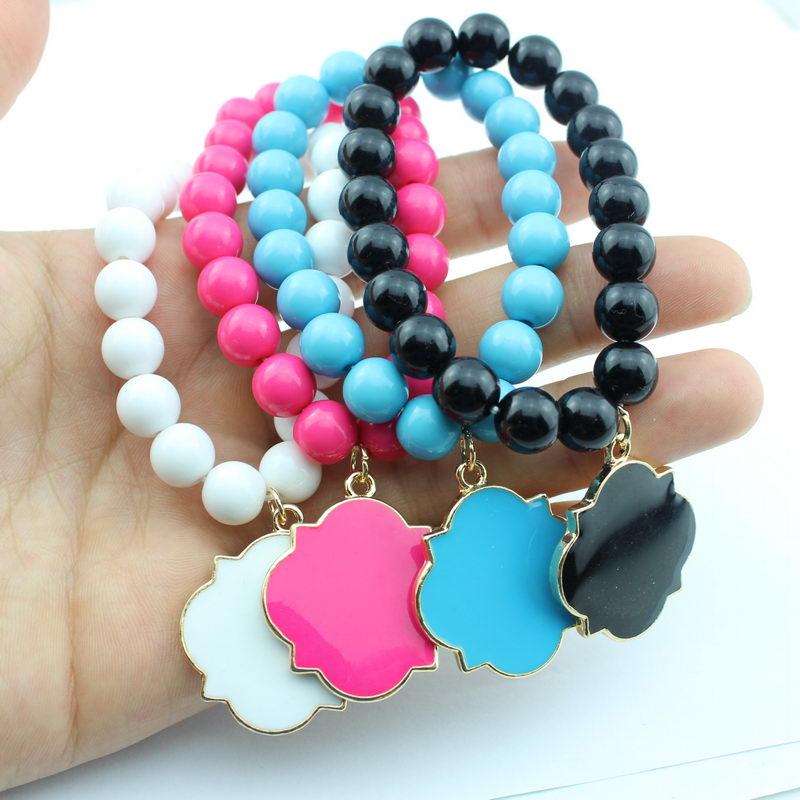 ZWPON Colorful Blank Enamel Clover Monogram Beads Bangles Elastic Charm Bracelets For Women Fashion Inspirational Jewelry
