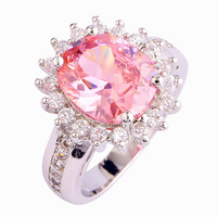 New Fashion Flower Cluster Design Romantic Pink Topaz 925 Silver Ring Size 6 7 8 9 10 Wholesale Free Shipping For Women Jewelry