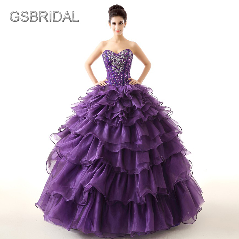 GSBRIDAL Purple Off the Shoulder Sweetheart Ruffle Skirt Beading Prom Dress ...