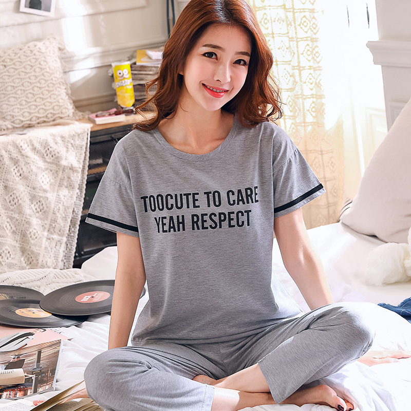 Plus Size Women Pajamas New Summer 100% Cotton Letter Pattern Lounge Girls Sleepwear Short Sleeve +Striped Long Pants 2 Pcs Set