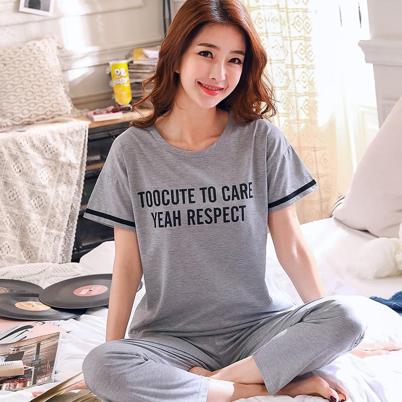 Plus Size Women Pajamas New Summer 100% Cotton Letter Pattern Lounge Girls Sleepwear Short Sleeve +Striped Long Pants 2 Pcs Set