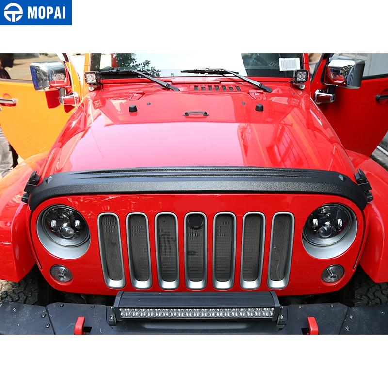 MOPAI ABS Auto Vorne Hinten Grille Motor Sand Stein Block Wind Air Deflektor Schild Abdeckung Aufkleber für Jeep Wrangler JK 2007 2017 - 2
