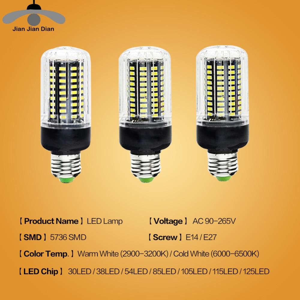 10 Packs JJD E14 E27 LED Corn Bulb 30 38 54 85 105 115 125 LEDs Chandelier Candle Light LED Lamp SMD5736 110V 220V For Home 2pcs real full watt 3w 5w 7w 8w 12w 15w e27 e14 led corn bulb 85v 265v smd 5736 led lamp spot light 28 40 72 108 132 156 leds