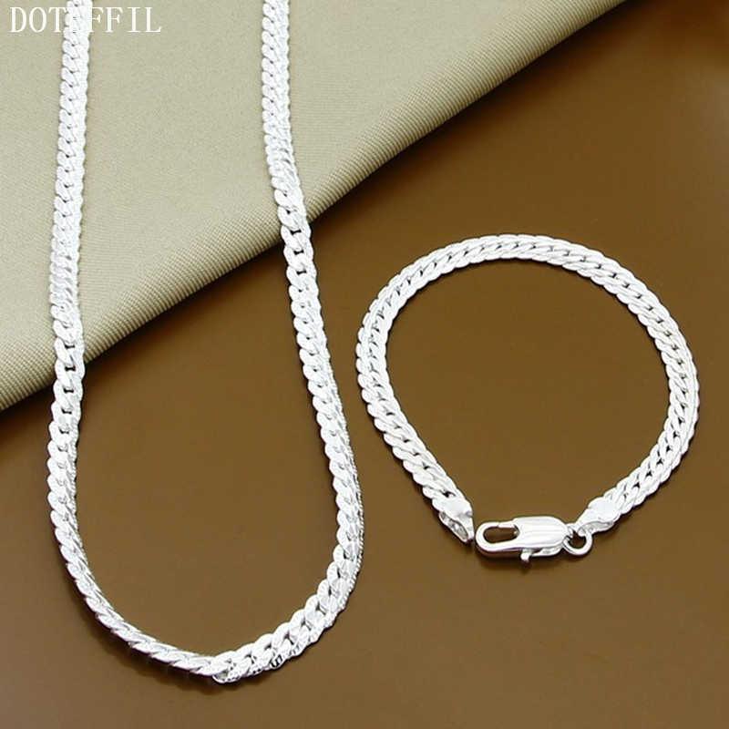 2 sztuka 925 srebrny kolorowy naszyjnik bransoletka zestaw biżuterii tanie zestawy biżuterii ślubnej mężczyzna 6M cały boczny moda srebrny naszyjnik