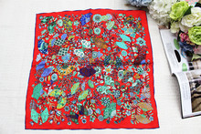 100%silk women Square scarf, Material:twill silk, size:52x52,Thickness 12mm  Fan Red