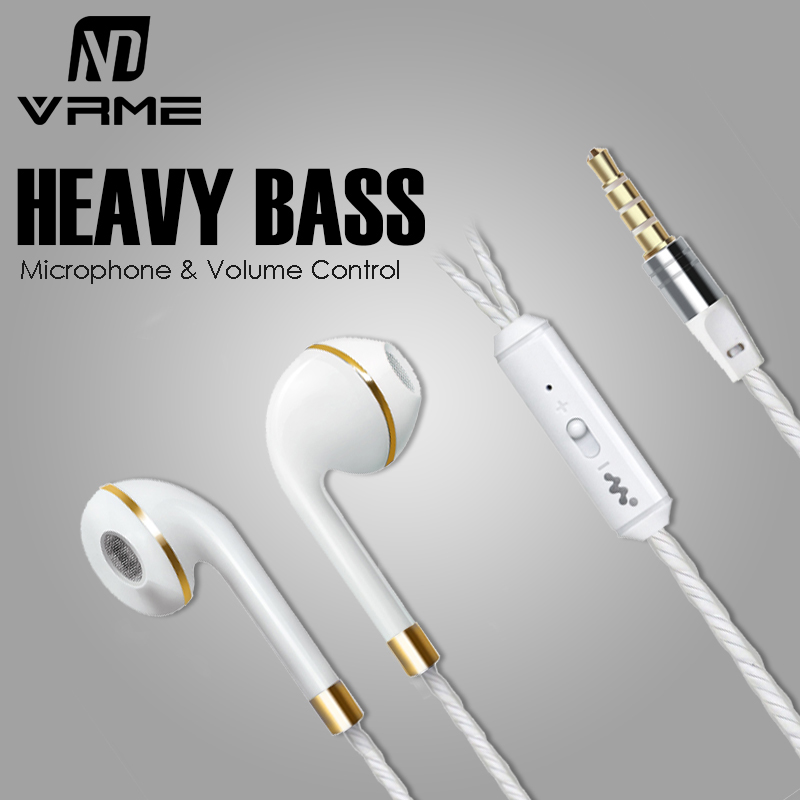 Luxury Elegant Vrme Headphones Wired Earphone Sport Earphones with Microphone Volume Control Bass Headset Earbuds for iPhone 6 5 sound intone c1 stereo deep bass wired headset music earphone computer headphones and volume control with microphone for laptop