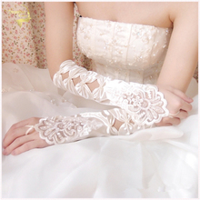 Bridal gloves embroidered bow white red long design lace wedding dress lucy refers to accessories  G014