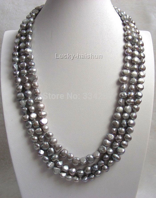 "charm accessory silver shone> 16"" baroque 3row Gray freshwater pearls necklace"