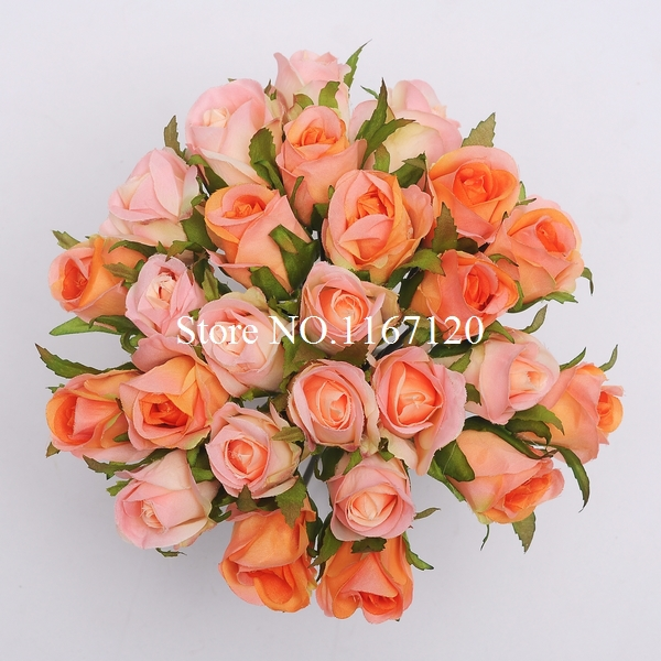Aliexpress buy free shippingnew 26 headsbunch orangepeach free shippingnew 26 headsbunch orangepeach pink artificial silk flower roses posy wedding mightylinksfo