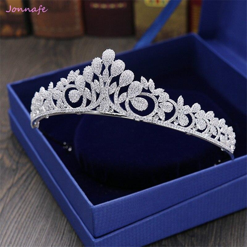 Jonnafe Shine Zirconia Bridal Tiara Wedding Hair Crown Headband Silver Hair Accessories Women Jewelry Prom Tiaras and Crowns