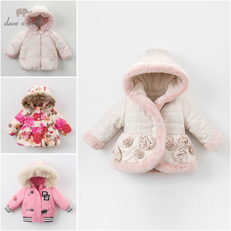 Dave bella winter baby girl Jackets toddler Hooded outerwear children hight quality padding coat