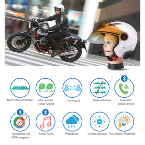 Image 2 - Fodsports Metal clip+V6 Pro Intercom Helmet Bluetooth Headset Multi BT Interphone Motorcycle Wireless Intercom 6 Rider 1200M