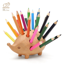 Lovely Hedgehog Shape Solid Wood Pen Holder with 24colors Pencil Kawaii Stationery Storage Box Plug-in Pencil Pen Holder Stand 1 pc pencil shaped pen stand holders for students plastic dest stationery holder cartoon creative pen holder