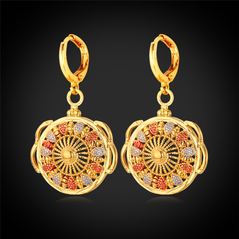Concentric Circle Earrings: Kpop Coin Drop Earrings Fashion Jewelry Gold Color New Sun