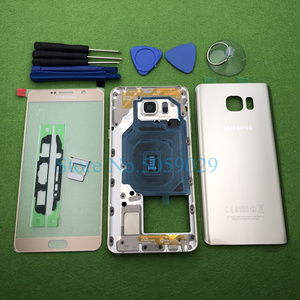 Image 3 - For Samsung Galaxy Note 5 N920 N920F Full Housing Rear Case Bezel Middle Frame Back Cover + Front Glass Lens Tools Sticker