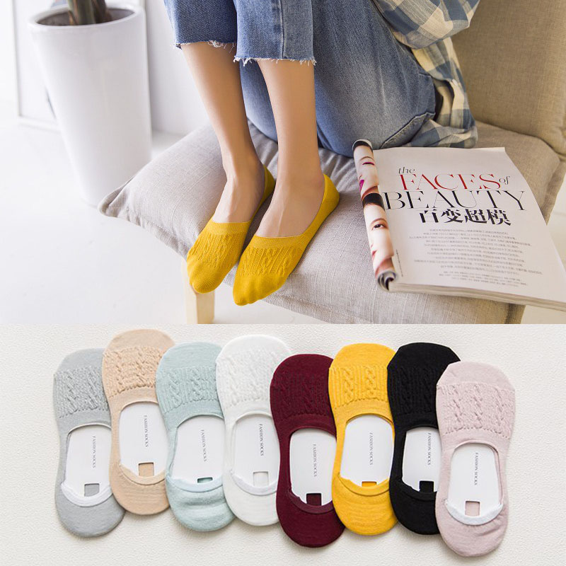 Summer New Lady Casual Breathable Ankle Boat Socks Girls Fashion Invisible Non-slip Cotton Socks Women Low Cut Candy Color Socks