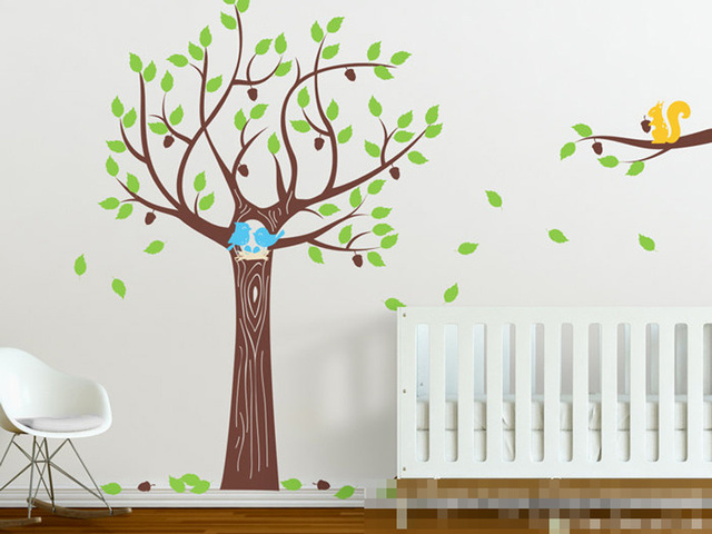 Large Acorn Oak Tree Wall Decal With Happy Birds Nest Squirrel Home ...