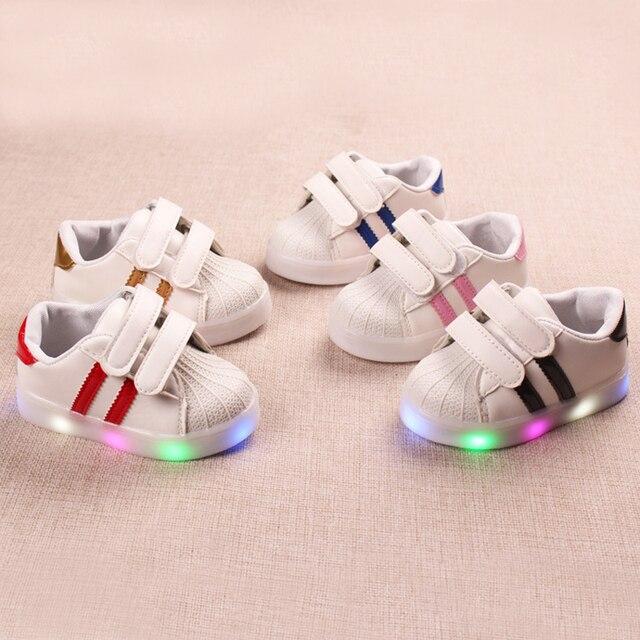 1c983aef8f59 All seasons Hook Loop baby sneakers Lovely LED lighted cool infant tennis  leisure girls boys shoes footwear