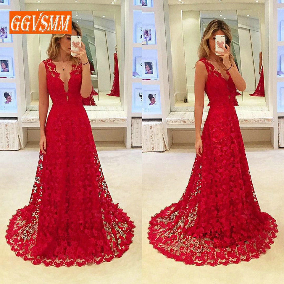 Fashion Burgundy Long   Evening     Dresses   2019 Sexy   Evening   Gowns For Women V Neck Lace A Line Floor Length Cheap Party   Dress   Prom