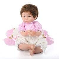 Best 45cm Bebe Doll Reborn Toys Soft Cloth Body Silicone Reborn Babies Pink Clothing Set Girl