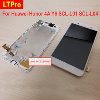 Black White Gold Full LCD Display Touch Screen Digitizer Assembly With Frame For Huawei Honor 4A