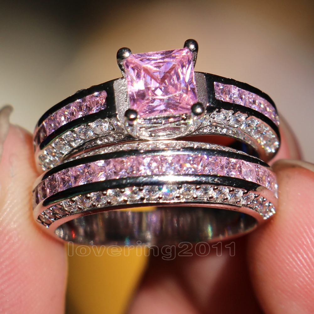 Aliexpress.com : Buy choucong Princess cut Pink stone 5A Zircon stone 10KT  White Gold Filled engagement Wedding Band Ring Set Sz 5 11 Gift from  Reliable ...