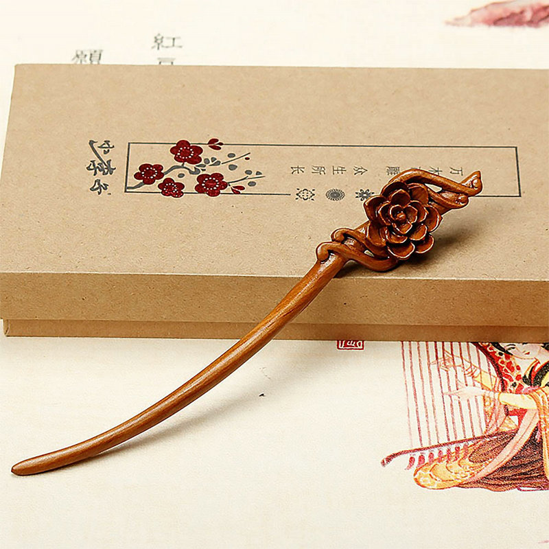 Vintage Chinese Red Sandalwood Wood Hair Sticks Pins Boutique Carved Wooden Hairpins Headpiece Bridal Hair Jewelry Accessories