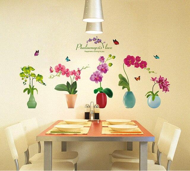 Stereo 3D Simulation Flowers Pot Wall Art Mural Decor Sticker ...
