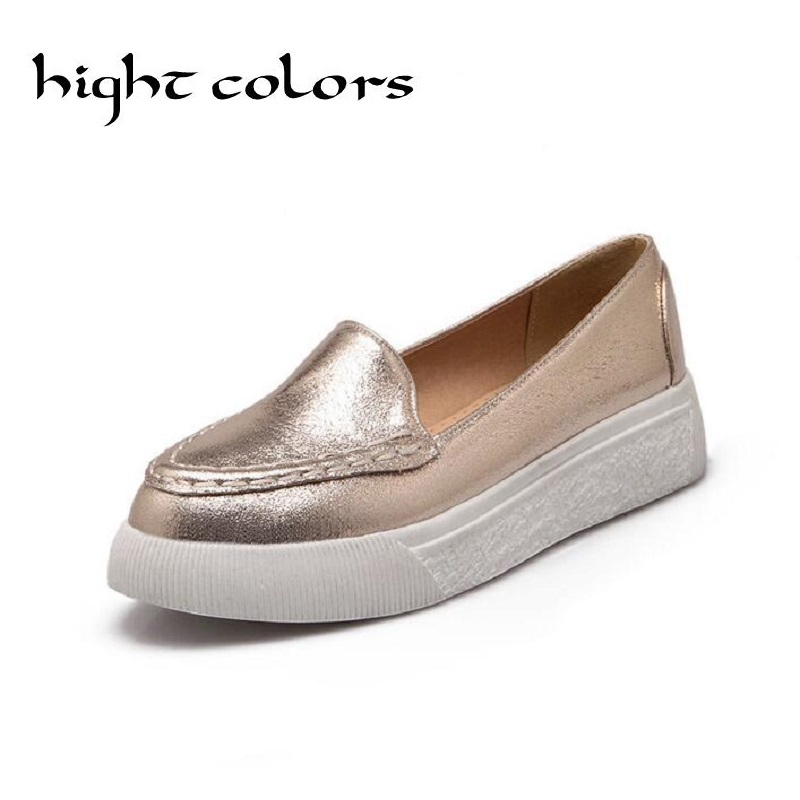 New 2018 Spring And Summer Pointed Toe Casual Shoes Gold Silver Platform Shoes Flat With Shallow Mouth Single Shoes Girl Loafers 2018 spring summer low heel sandals pointed toe shallow mouth women shoes woman cozy casual shoes leisure single ladies shoes cy
