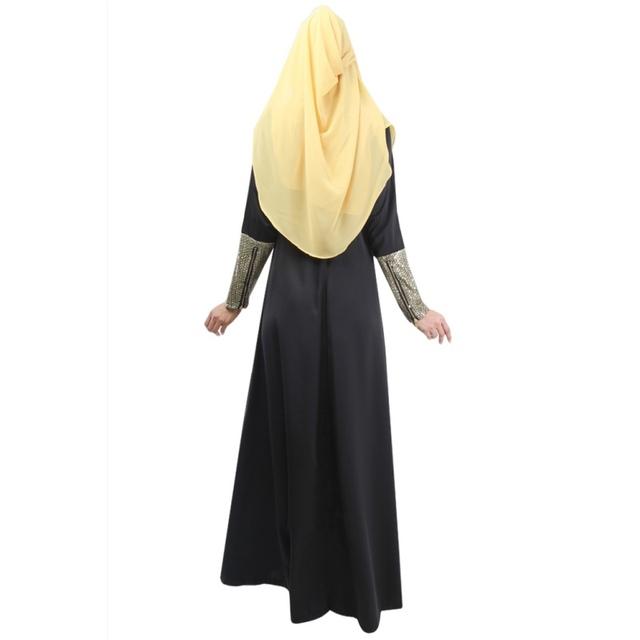 Muslim Abaya Jilbab Islamic Women Long Sleeve Vintage Party Maxi Dress