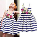 2016 New Arrival Girls Dress Striped Navy Flower Dress Strap Sleeveless Cotton Dress Fashion High Quality Children's Clothing