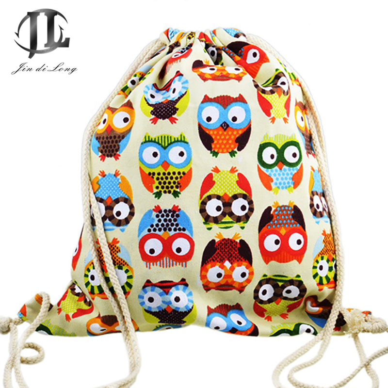 Fashion Casual Owl Drawstring Bags Cute 3d Print Girls Women Student Bag Travel Pouch Shoes Clothes Cosmetics Wash Storage Bags