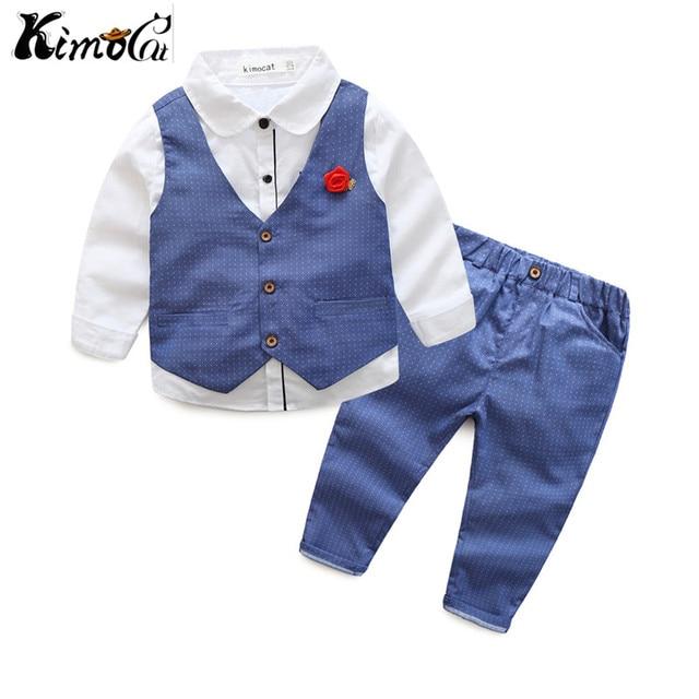 Kimocat new High quality Spring and autumn boys blazer Gentlemen's flowers lapel into casual suit 3pcs (Vest + shirt + pants)