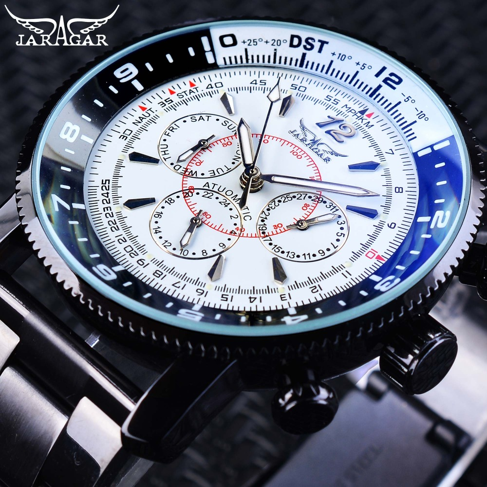 Jaragar Fashion Three Small Dial Date Week Hour Display Black Bracelet Men's Automatic Watches Luminous Hands Military Clock 2016 jaragar fashion automatic mechanical men dress watches 24 hour week date solid dial leather band simple wristwatch gift