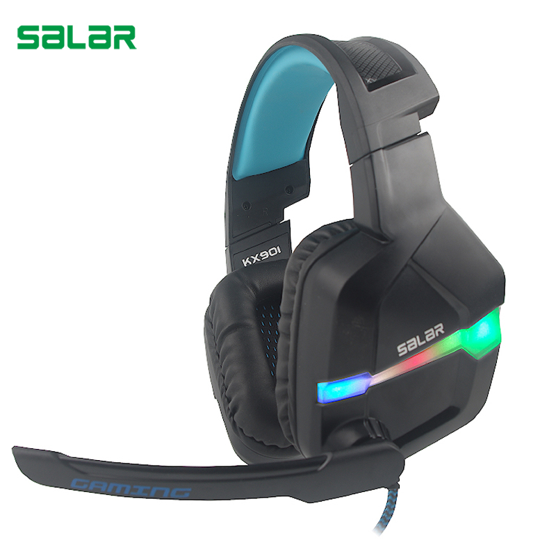 Salar KX901 Earphone Gaming Headset Deep Bass Stereo Game Headphones with microphone LED Light PC Gamer headphone for Computer salar em300i stereo bass headphones 3 5mm sport headset music earphone with microphone for xiaomi iphone computer pc mp3