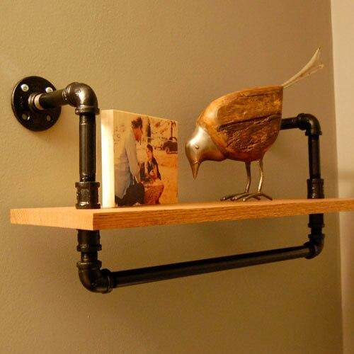All solid wood wall shelf decorative towel rack shelves loft bedroom ...