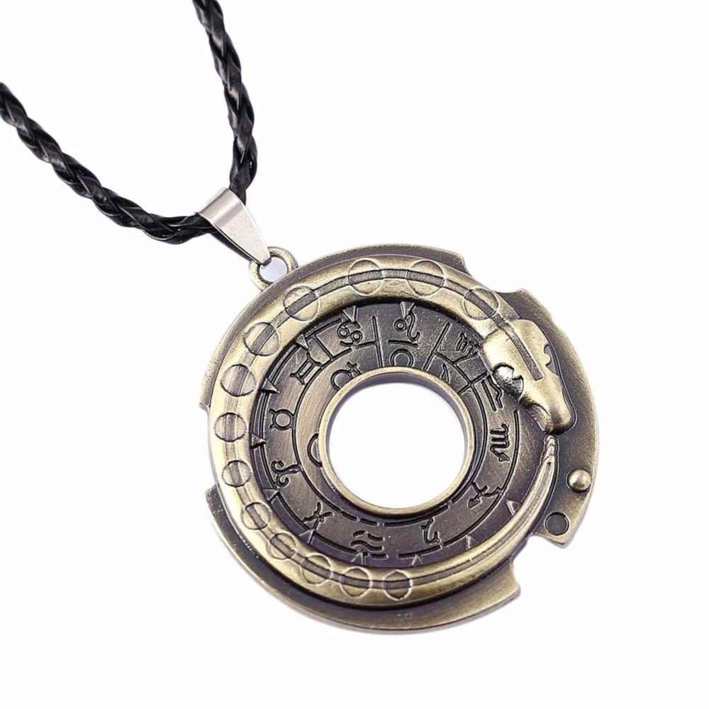 Moda Rune Ouroboros Cobra Rodada Corda de Couro Colares & Pingentes Amuleto Da Sorte Jóias de Proteção No Pescoço Para Meninas