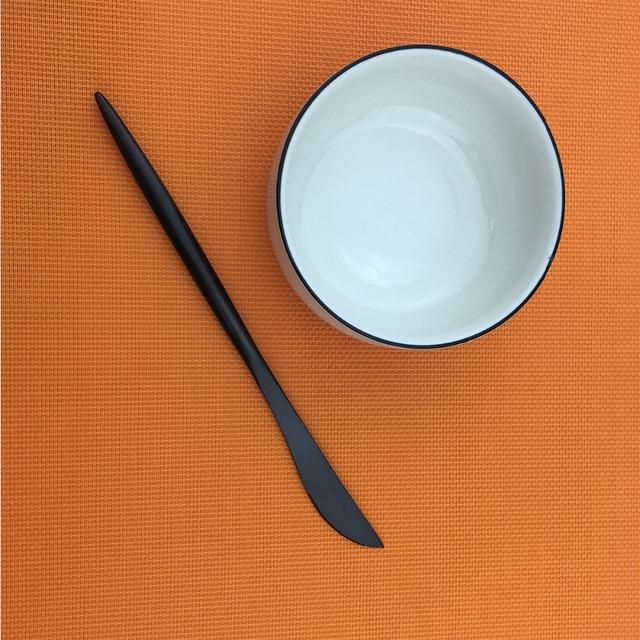 5Pcs Black Cutlery Set Elegant Dinnerware Hotel Restaurant Tableware Set Forks Knives Scoops Set Stainless Steel Silverware Set